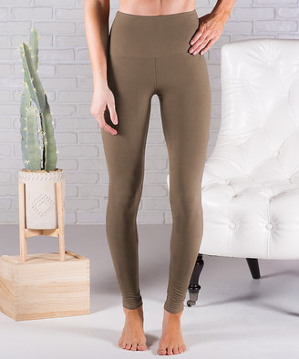 Contagious Women's Leggings Olive - Olive Fleece-Lined Tummy-Control Leggings - Women