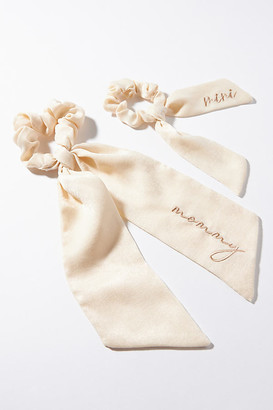 Anthropologie Mommy & Mini Scarf Scrunchie Set By in White