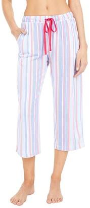 Karen Neuburger Petite Sunday In Sorrento Capris Pants (Cornflower Blue Picnic Stripe) Women's Pajama