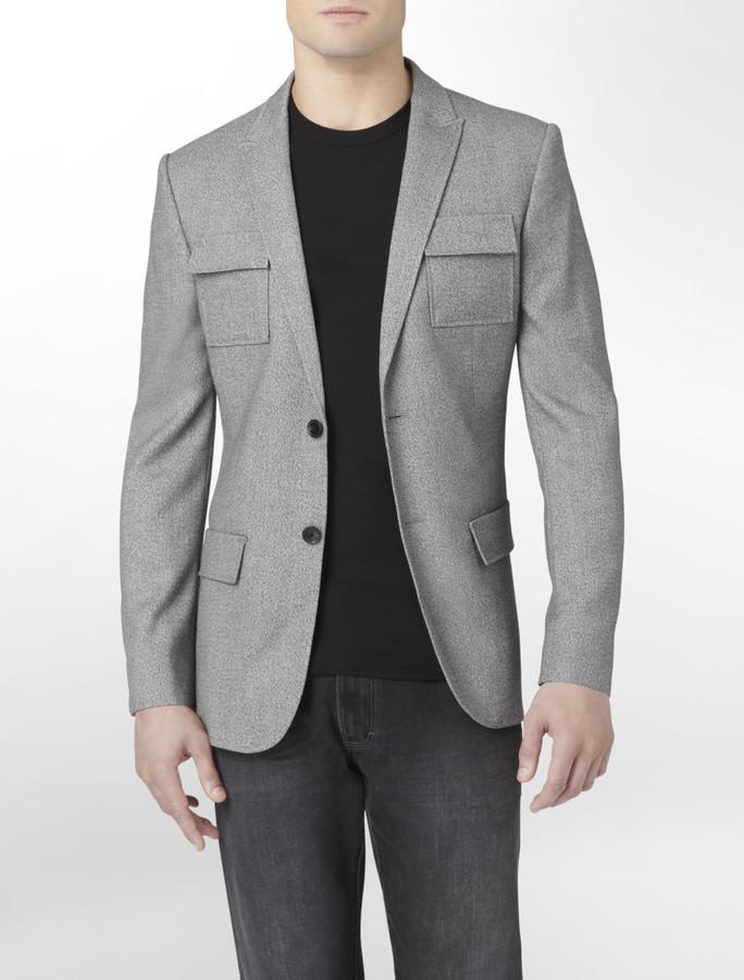 Calvin Klein Body Slim Fit Two-Tone Pocket Blazer