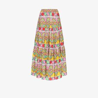 Mira Mikati Womens White Aztec Print Linen Maxi Skirt