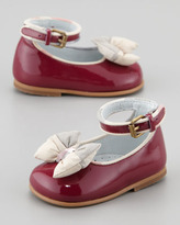 Burberry Newborn Patent Check-Bow Shoe, Raspberry Sorbet