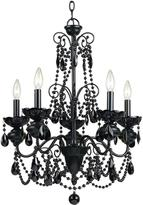 AF Lighting Mischief 5-Light Black Metal Chandelier with Black Glass Bead Accents