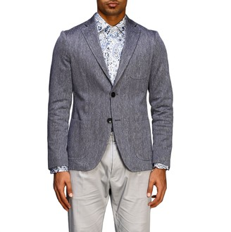 Etro Single-breasted 2-button Jacket In Jersey With Geometric Jacquard