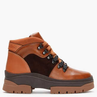 See by Chloe Aure Tan & Brown Leather Walking Boots