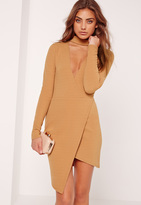 Missguided Choker Neck Wrap Bodycon Dress Camel