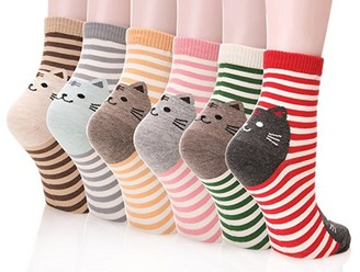 Happytree Womens Ladies Casual Socks - Fun Cool Cats Dogs Cartoon Sweet Animal Design Good for Gift Idea One Size Fits All (Stripe Cat 6 Pairs)