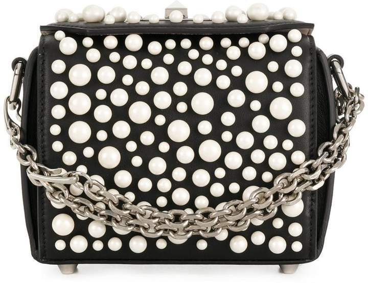 Alexander McQueen spotted pearl embellished crossbody bag