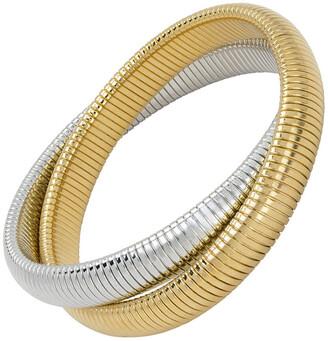 Janis Savitt High Polished Yellow Gold and Rhodium Plated Double Cobra Bracelet