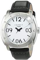 Esprit TP10638 Men's Quartz Watch with White Dial Analogue Display and Black Leather Strap ES106381002