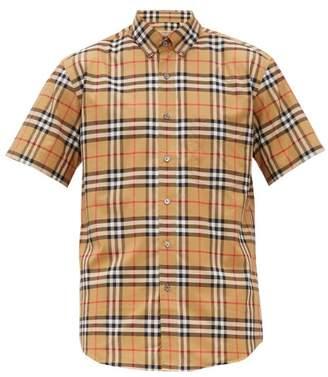 Burberry Jameson House-check Cotton-poplin Shirt - Mens - Camel