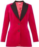 Bella Freud Saint James Contrast-lapel Cotton-velvet Jacket - Womens - Pink