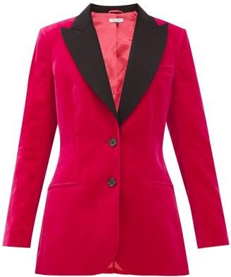 Bella Freud Saint James Contrast-lapel Cotton-velvet Jacket - Pink
