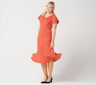 Isaac Mizrahi Live! Regular Knit Midi Dress with Ruffle Curved Hem
