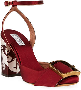 Tabitha Simmons Serena Satin Buckle Sandals, Red