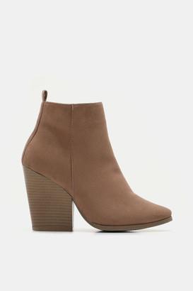 Ardene Faux Suede Block Heel Booties - Shoes |
