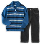 Calvin Klein Two-Piece Half-Zip Sweater and Denim Pants Set