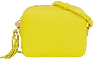Aurora London The Gigi Crossbody Leather Bag Neon Yellow