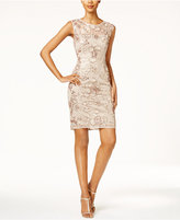 Adrianna Papell Sequined Lace Illusion Sheath Dress