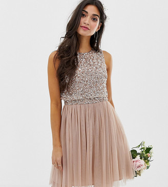 Maya Petite Bridesmaid sleeveless mini tulle dress with tonal delicate sequin overlay in taupe blush