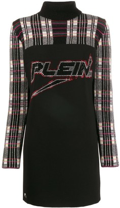 Philipp Plein Embellished Logo Knit Dress