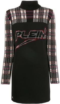 Philipp Plein Embellished Logo Knit Dress