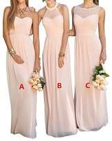 GMAR Women's Chiffon Bridesmaid Dresses Sleeveless Long Prom Evening Gowns