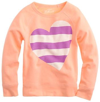 J.Crew Girls' stripe heart long-sleeve tee