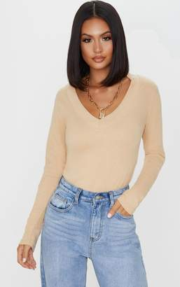 PrettyLittleThing Sand Structured Rib V Neck Long Sleeve Top