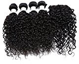 shuangya hair Brazilian Virgin Hair Closure with 4 Bundles Human Hair Weave Water Wave Extensions Natural Brazilian Hair Wet and Wavy(28 28 28 28+Closure 20)