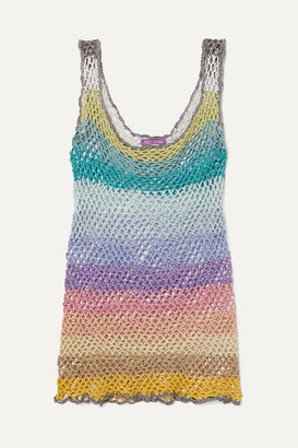 Rose Carmine - Metallic Striped Crochet-knit Tank - Baby pink