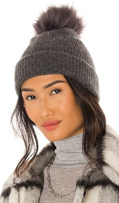 White + Warren Plush Rib Beanie with Faux Fur Pom Pom