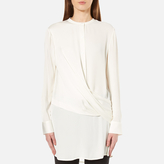 DKNY Women's Long Sleeve Wrap Front Tunic Shirt Gesso