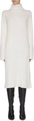 The Row 'Moa' high neck wool-cashmere rib knit dress