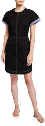 Derek Lam 10 Crosby Short-Sleeve Crewneck Dress w/ Contrast Stitching