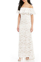 Eliza J Lace Off-The Shoulder Lace Ruffle Gown