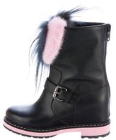 Fendi Caroline Fur-Trimmed Leather Wedge Boots
