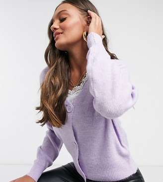 Vero Moda Petite knitted cardigan with balloon sleeves in lilac