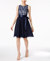 Jessica Howard Sequined Lace Tulle Fit and Flare Dress