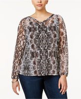 INC International Concepts Plus Size Snake-Print Top, Created for Macy's
