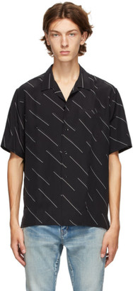 Saint Laurent Black Diagonal Stripe Short Sleeve Shirt