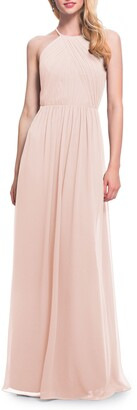 #Levkoff Halter Neck Chiffon A-Line Gown