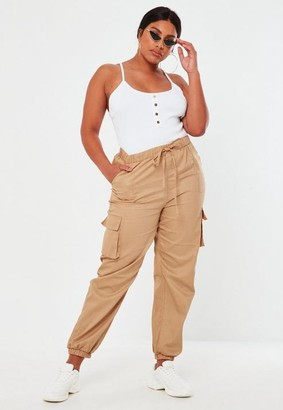 Missguided Plus Size Sand Drawstring Cargo Pants