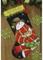 """Dimensions Snowman and Bear 16"""" Stocking Needlepoint Kit"""