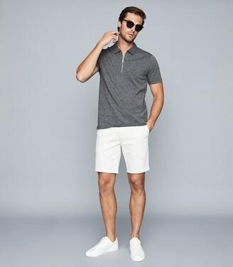 Reiss John - Mouline Cotton Zip Neck Polo Shirt in Grey