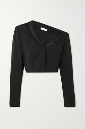 Jonathan Simkhai Sloane One-shoulder Cropped Satin-trimmed Crepe Blazer - Black