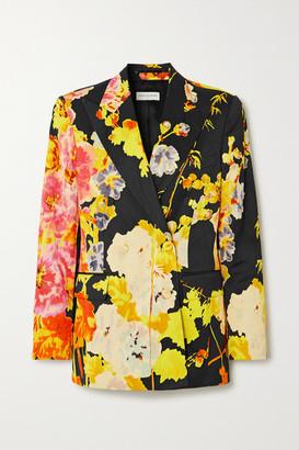 Dries Van Noten Double-breasted Floral-print Satin Blazer - Black
