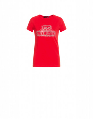 Love Moschino T-shirt Crystal Logo Woman Red Size 38 It - (4 Us)