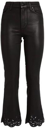 Paige Claudine Laser-Cut Rose-Hem Jeans