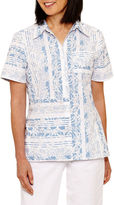 Alfred Dunner Blue Lagoon Short Sleeve Button-Front Shirt